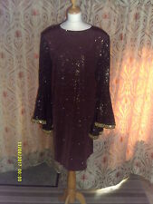 Drag Queen Brown/Gold SHORT dress with full oval  sleeves 20/22