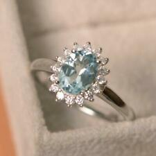 Solid 14K White Gold Natural Diamond Blue Aquamarine Engagement Halo Women Ring