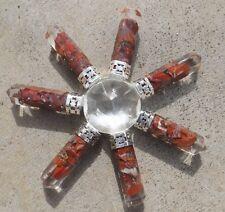Cuarzo Pirámide Con 7 Orgón Rojo Jasper Cristal puntos ~ Generador De Energía