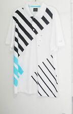 Greg Norman Tasso Elba Mens Abstract Striped Polo Shirt White Sz L - Nwt