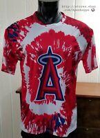 MLB Los Angeles California Angels Tie Dye SGA Baseball Athletic Shirt Sz XL NOTE