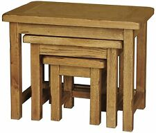 Logan solid oak furniture small nest of three coffee tables