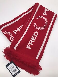 Fred Perry Men Graphic Scarf 100% Acrylic Made In England Red