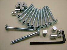 Bed / cot bolts 12 sets of M6 x 60mm bolt, allen key & 14mm barrel nut=25 items