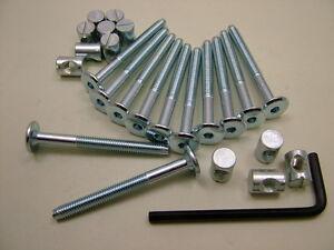 Bed / cot bolts 12 sets of M6 x 60mm bolt, allen key & 14mm barrel nut=25 items