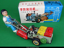 Girl on tractor mechanical farm toy China MS 857 tin toy wind-up