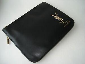 YSL  cassandre signature pleat Pouch Beauty Makeup Bag Black  Trousse Noir
