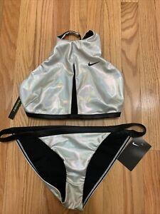 Nike Iridescent Silver Reversible Cross Back Bikini Set Swimsuit Sz L NWT $118