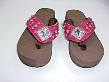 Women's Size 6 Fashion Wedge Sandals with cross emblem design