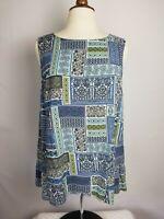 J Jill Sleeveless Tunic Size L Womens Blue Multi Print Blouse