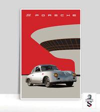 Silver 356 Porsche. Vintage Porsche Aluminum Poster. 24x36