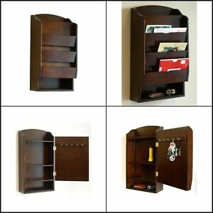 Letter Mail Wall Rack Mount Storage Organizer Holder Key Wood Bill Office Home
