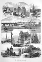 ST .LOUIS Missouri Views in City Courthouse Lafayette St - 1883 German Print