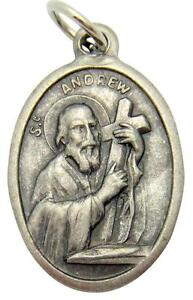 "MRT St Andrew Patron Saint Scotland Medal Silver Plate Catholic Gift 3/4"" Italy"