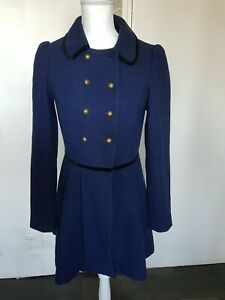 Women's blue Military style coat long line size UK 8
