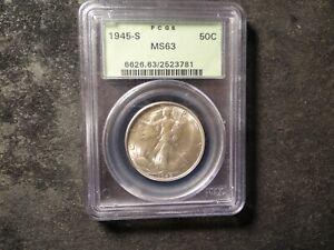 1945-S  PCGS MS 63 Walking Liberty Half Dollar Looks-65 SLABZ