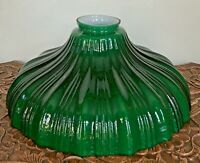"Vintage Lamp Shade Sheffield Cased Green-Opal Torchiere Glass 9"" Ribbed 2-1/4"""