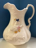 1890 Vintage IRONSTONE ENGLAND Large Ceramic White Pitcher Duck Blue Pink Ribbon