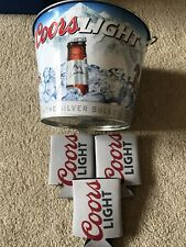 Coors Light Beer Bucket And (3) Can Koozies
