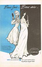 PUBLICITE ADVERTISING  1959   CIDENA  longerie nuisette BEAUX SOIRS
