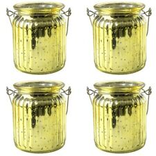 Pack of 4 Decorative Yellow Ribbed Glass Jar Tea light Candle Holders