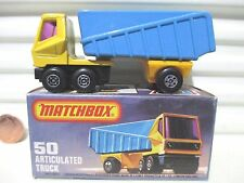 Lesney Matchbox 1978 MB50C Blue + Yellow Articulated Truck No Labels Mint Boxed