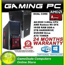 AMD Dual Core A6 9500 3.8GHz Gaming PC Computer 16GB ram 2Tb HDD Radeon R5 GFX
