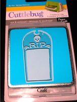 """RIP Tombstone Halloween Cuttlebug 3"""" Die & Embossing Folder 37-1892 NEW"""