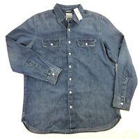 NWT American Eagle Mens XLT Blue Denim Long Sleeve Button Down Shirt