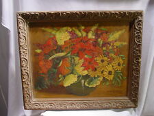 C1930s Mathilde  Sindt Horn O/B Flower Painting Bronx NY - From NJ Meadows