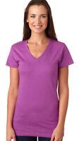 LAT Women's Fine Jersey V Neck Collar Hemmed Sleeve Longer Length T-Shirt. L3607