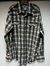 Vtg Rockmount Ranch Wear Western Shirt Top Stripe Plaid Red Gray Denver Tall Xl