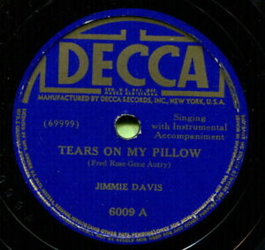 JIMMY DAVIS (Tears On My Pillow / I Wish I Had) CLASSIC COUNTRY 78 RPM RECORD