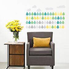 Decoración Casa interior papel de arte las nubes gotas pegatinas de pared Mural 84cm X 49cm