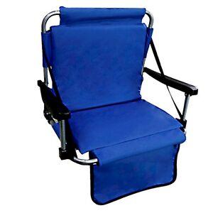 Blue Stadium Chair Bleacher Seating Shoulder Strap Padded Foldable