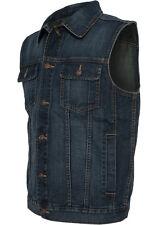 URBAN CLASSICS Herren Denim Weste + 1 SHIRT GRATIS Jeansweste Jacke Jeansjacke
