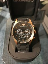 New In Box Emporio Armani AR5905 Rose Gold & Black Chronograph Dial Men's Watch