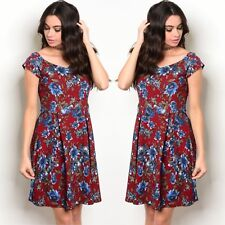NWT Women's Large Burgundy Red Floral Midi Dress Fall Winter BOUTIQUE