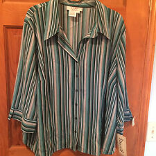 Womens Como Plus 3x Stretch Teal Striped button blouse career or casual NWT A23