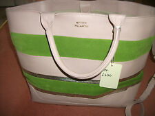 Matthew Williamson Large hand bag, dusky pink green and gold, all leather,£430.