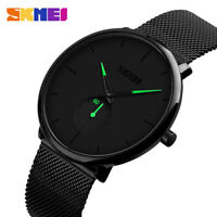 Mens Minimalist Ultra-Thin Analog Waterproof Dress Stainless Steel Wrist Watch