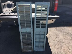 "PaiR c1900 louvered VICTORIAN house SHUTTERS powder blue paint 51"" X 12.75"" w"