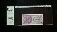 PCGS GEM 67 PPQ SERIES 641 FIVE CENTS MILITARY PAYMENT CERTIFICATE 5C NOTE!