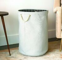 Canvas Collapsible Laundry Hamper, Pin Stripes by Handcrafted 4 Home