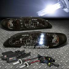 SMOKED LED DRL HEADLIGHT+AMBER TURN+10000K SLIM HID FOR 94-98 FORD MUSTANG SN-95