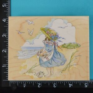 Girl at Beach 80156 Ocean Collecting Shells Stamps Happen Wood Rubber Stamp