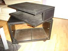 Meuble tv noir, niche rotative, portes en verre