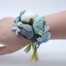 Pastel blue gray Corsage Or Wristlet Silk Flower Decoration Weddings Party Favor