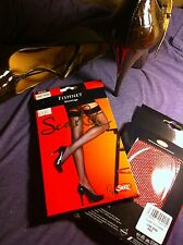 Red One Size Fishnet Stockings New Quality Hosiery By Silky