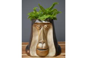 Indoor Bronze Monkey Head Plant  Pot Art Deco Style Unique Planter